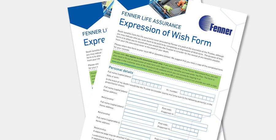 Expression of Wish Form for the Fenner Retirement Plan